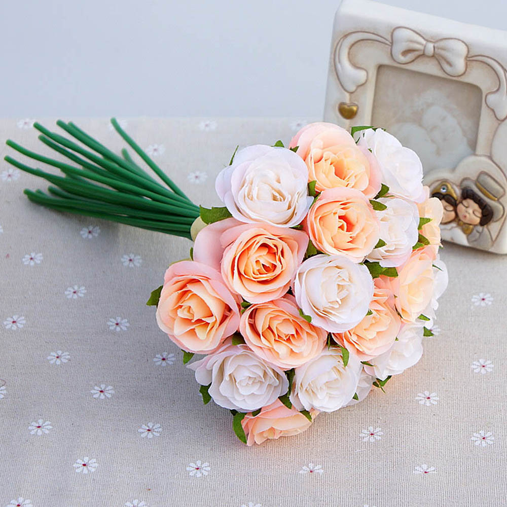 Home bulk roses peach roses - Aliexpress Com Buy Home Wedding Decoration Pink Bouquet Hand Holding Diy Wedding Artificial Flowers Rose Bud Heads Fake Simulation Flower Bouquet From
