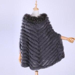 Image 3 - Jersey de lujo para mujer, Poncho de piel de mapache y conejo auténtico tejido de pieles, chal, abrigo triangular, 2020