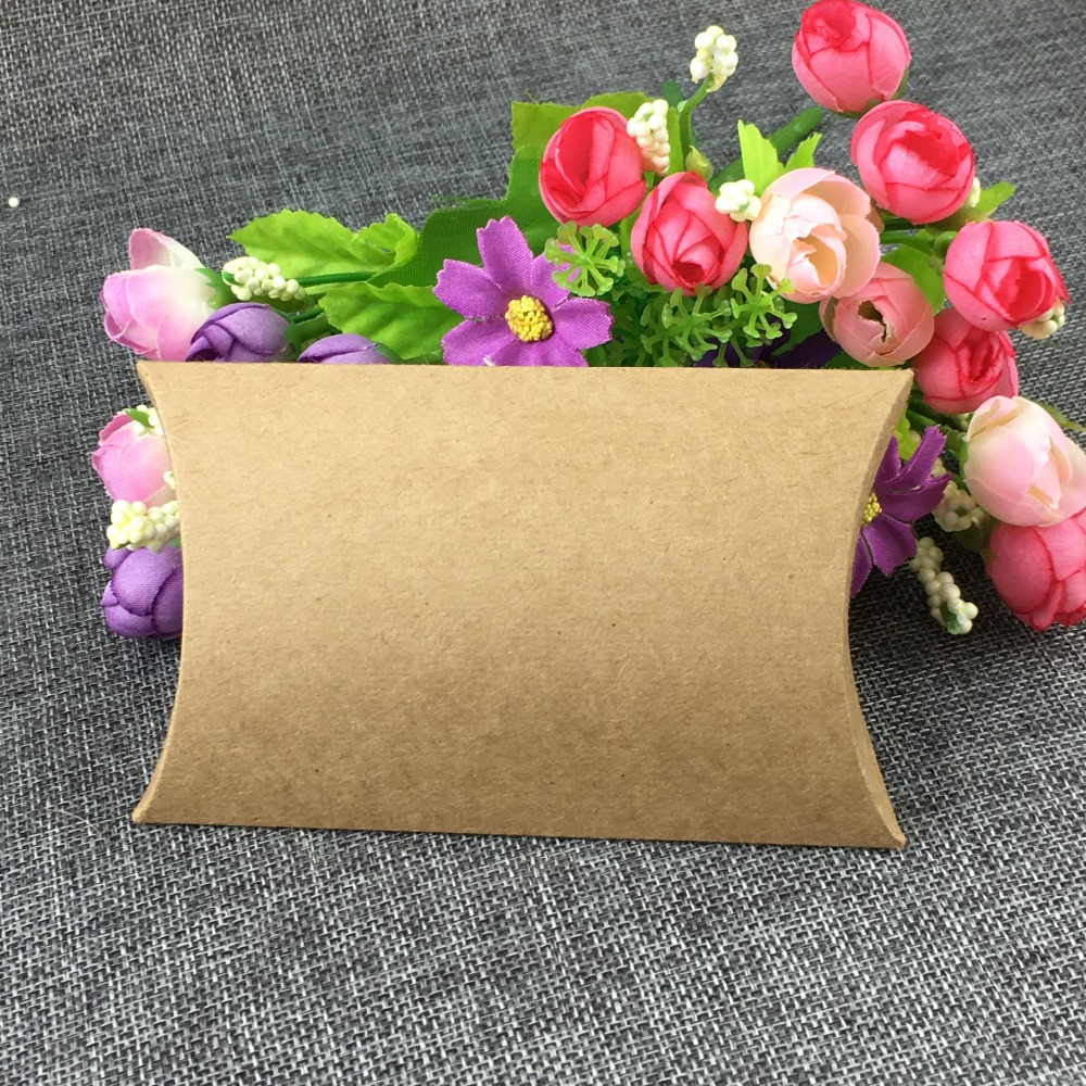 12.5*8*2cm 100pcs/lot Kraft Paper Jewelry Pillow Shape Box Display Package Blank Boxes For Candy/toy/gift Accept Custom Logo Event & Party Gift Bags & Wrapping Supplies