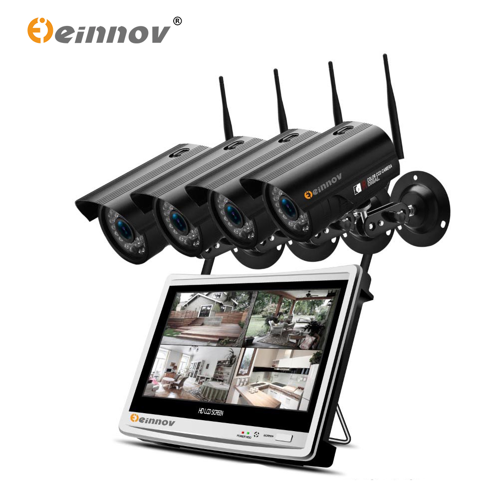 Einnov 12inch LCD Monitor 4CH HD 1080P 2MP Wireless Wifi CCTV Security Camera System Vedio Surveillance NVR Kit IP IR Camera