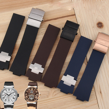 BRETA  Waterproof Rubber Watch Band Stainless Steel Fold Buckle Watch Band Strap for Ulysse Nardin MARINE 1183 Observatory 25×12