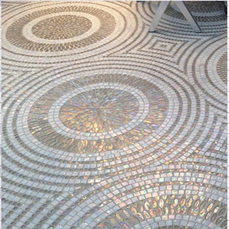 Kundenspezifische Räder Design Raute Schillernden Weiß Wandbild Glas Mosaik Fliesen,  Küche Backsplash Badezimmer Taille
