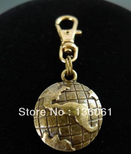 Vintage Bronze GLOBE WORLD MAP SOUTH <font><b>NORTH</b></font> AMERICA Key Ring For Keys Car DIY Bag Key Chain <font><b>Handbag</b></font> Gift Accessories Hot P313