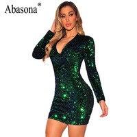Abasona Sequin Women Dresses Evening Party Long Sleeve Bodycon Dress Elegant Ladies V Neck Sexy Sparkle