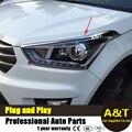 A & T car styling Para faros de cromo para 2014-2016 Para IX25 IX25 faro ABS marco decorativo 2 unids