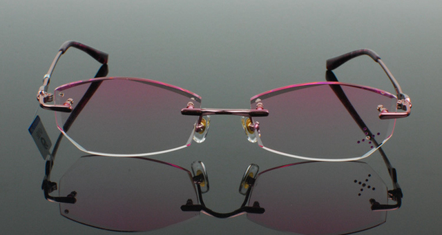 c6151e7a7d Pure titanium Eyeglasses Frame Diamond cutting edges Fashion Pink lady glasses  eyewear frame unisex decorations optical