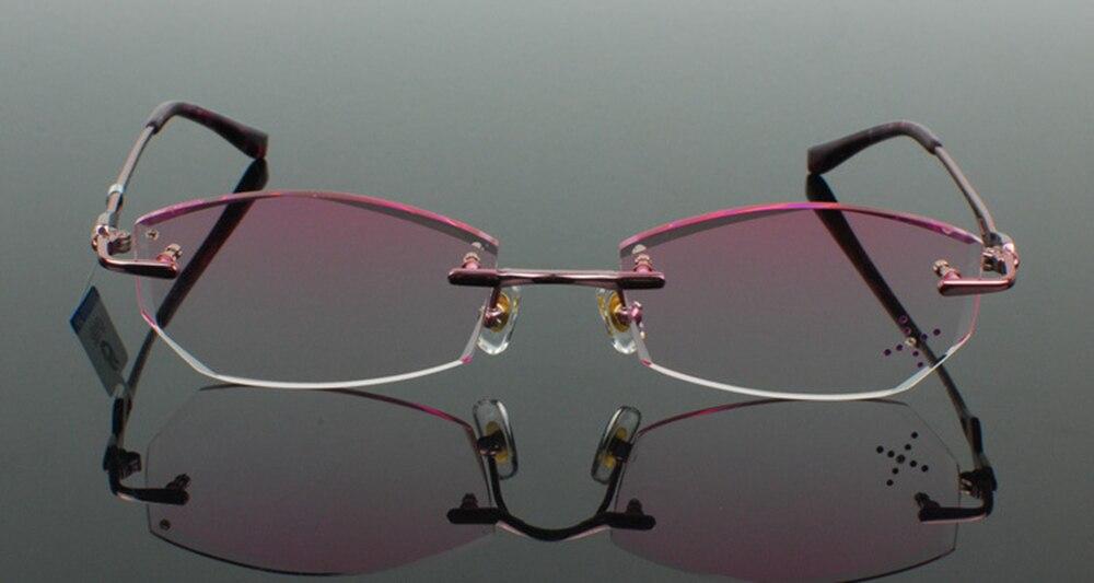 Titane pur lunettes cadre diamant bords de coupe mode rose dame lunettes monture lunettes unisexe décorations optiques lunettes