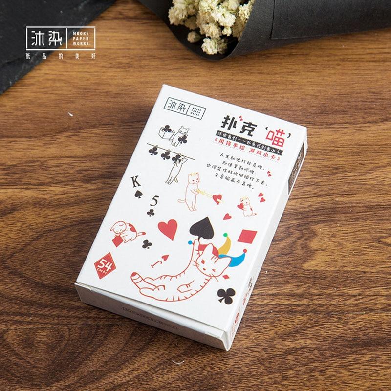 54 pcs/set Cute poker cat mini card greeting card landscape LOMO memo card kids gift postcard kawaii stationery