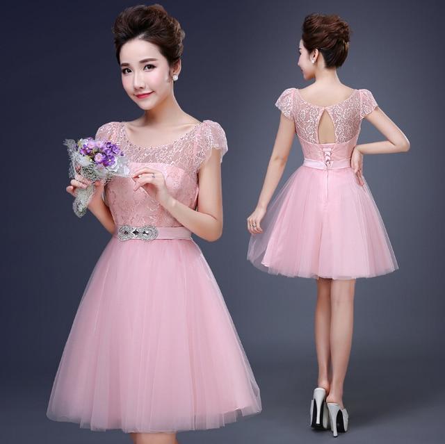 short women pink elegant tea party dress bridesmaid woman\'s ball ...