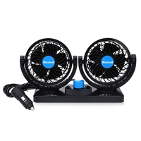 12V Mini Electric Car Fan Low Noise Summer Car Air Conditioner 360 Degree Rotating 2 Gears Adjustable Car Fan Air Cooling Fan