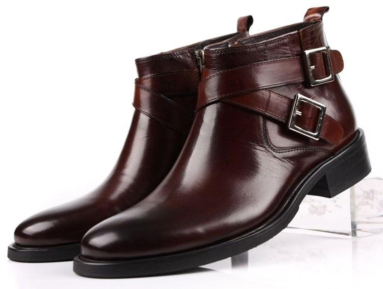Ukuran Besar Eur46 Hitam / Coklat Tan Gesper Ganda Mens Ankle Boots Asli Sepatu Bot Kulit Laki-laki Berpakaian Sepatu