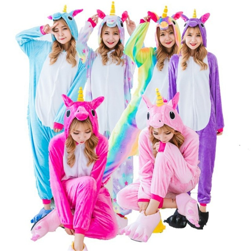 Unicorn Flannel   Pajamas     Sets   Animal pijamas Winter Cosplay Women Men Male Sleepwear Unisex children Kigurumi Unicornio Home Hot