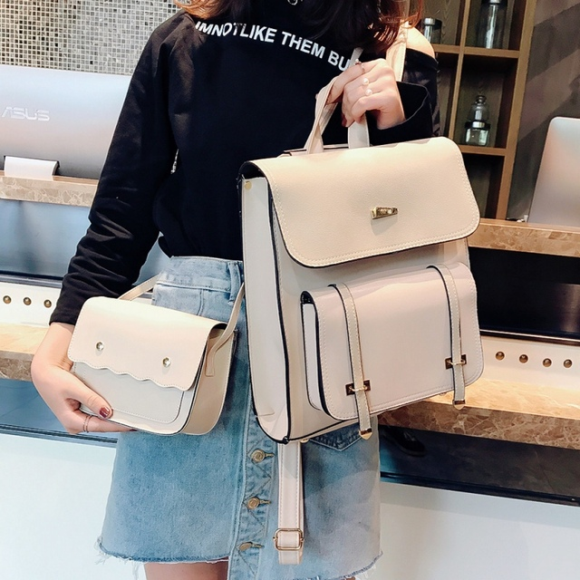 2 bags Fashion Women Backpack 2018 New High-quality PU Leather School  Bakcpacks Large Shoulder bag Teenage Girl Travel Rucksack 6825fc7f96ea0