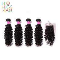 WoWigs Haar Indisches Haar Remy Haar Lockiges Haar 4/3 Bundles Deal Mit Top Spitze Schließung Natürliche Farbe 1B