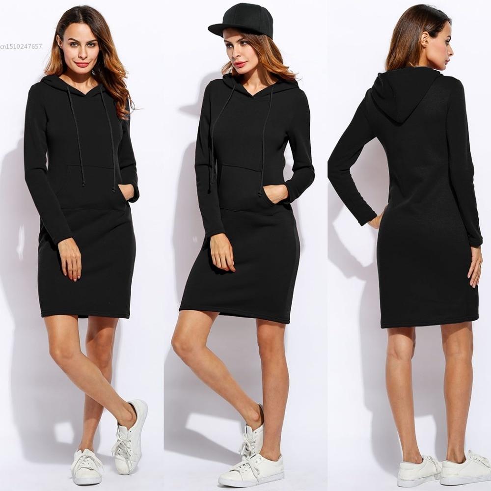 Women Fashion Slim Hooded Long Sleeve Solid Pencil Hoodie Dress