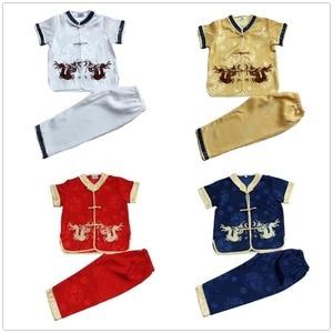 Image 5 - 中国の伝統的な子供のカンフースーツ唐服セット刺繍ドラゴン男の赤ちゃんカーディガンtシャツズボン新年のコスチューム