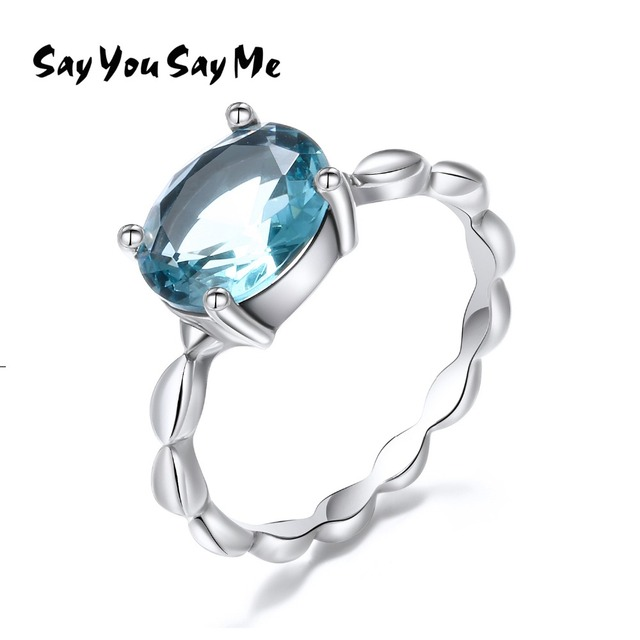 925 Sterling Silver Light Blue Glass Stone Rings Say You Say Me Silver Bead Ring