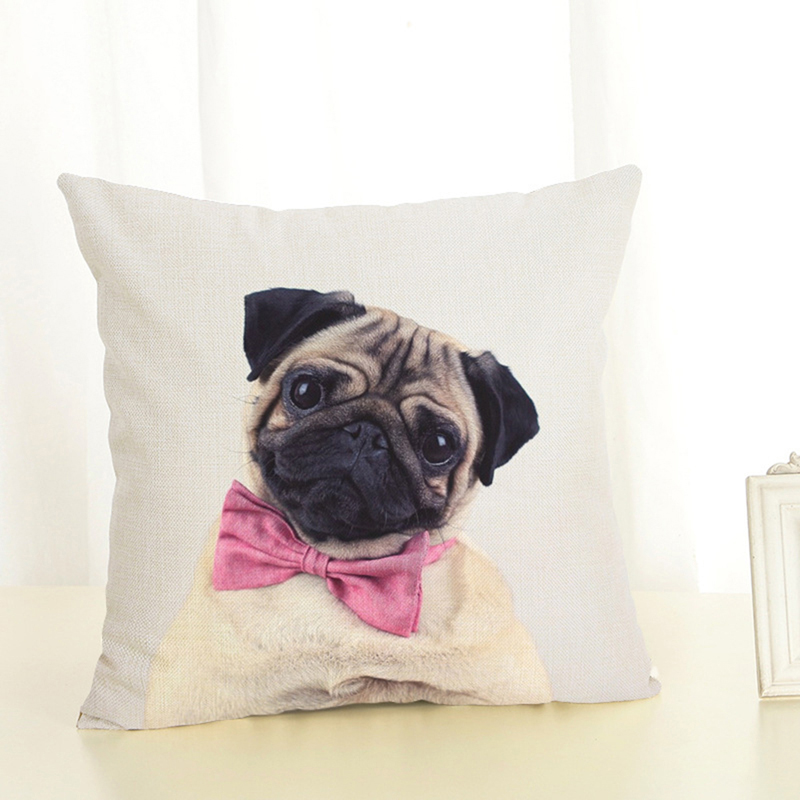 EHOMEBUY Cushion Cover Pink Bow Tie Pug Decorative Pillows Car Seat Pillowcases Print Bedding Cushions Pillow Covers For Sofa