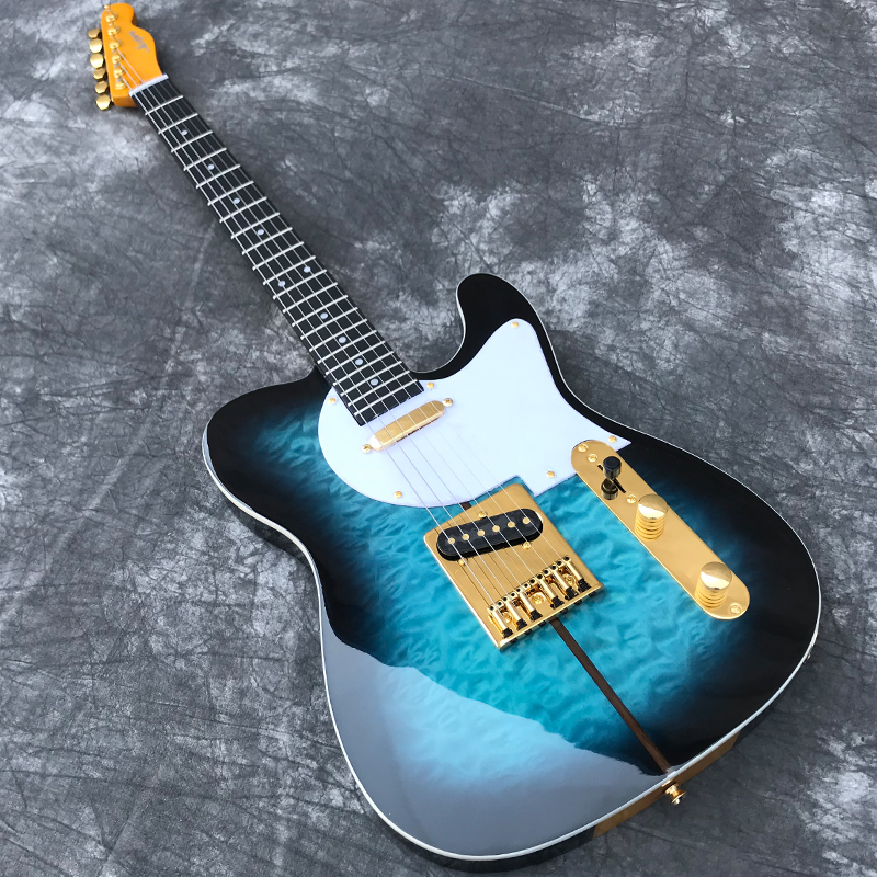 Ebony Fretboard Custom Shop Electric Guitar with Quilted Maple top in Blue burst color Gold Hardware