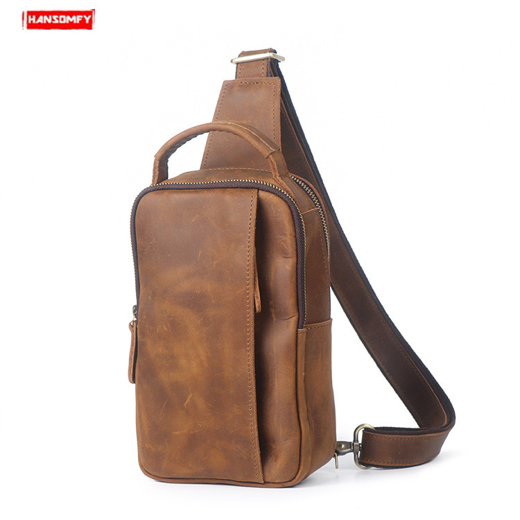 Retro mens Real leather chest bag crazy horse leather male handbag casual shoulder Messenger bagRetro mens Real leather chest bag crazy horse leather male handbag casual shoulder Messenger bag