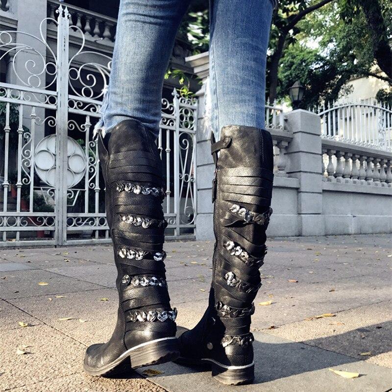 Decoración Mujeres Genuino Zapatos Rodilla Cuero Lining Metal Jady Goma Botas black Martin Plataforma Plush Con Rose Negro Mujer Plana Flecos De tqx68EnACw