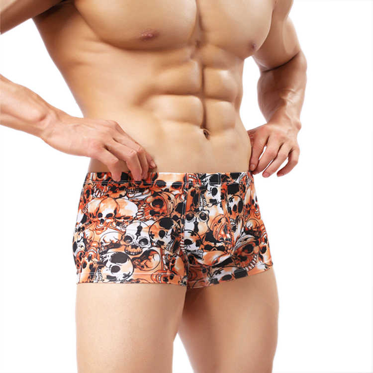 08e1984cdf63 Hot Sale Skull Printed Underwear Homme Comfortable Panties Soft Breathable  Lovely Male Falt Boxers