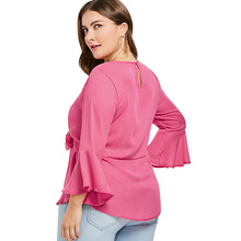 Women's Plus Size Bowknot Blouse with Flare Sleeves