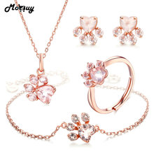 hot deal buy mobuy natural gemstone heart rose quartz 100% 925 sterling silver 4pcs jewelry sets for women bearfoot fine jewelry v035ehnr