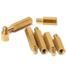 цена на Brass Male Female Hex Standoff Pillar Board Mount PCB Hexagon Threaded Motherboard Spacer Bolt Screw M2.5xL+4mm/5mm/6mm