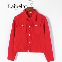Laipelar Women Basic Coats  Autumn Denim Jacket red black denim jacket Female Jeans Coat Casual Girls Outwear