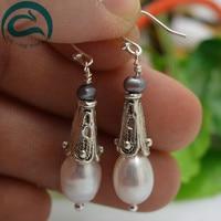 White Black Color Natural Pearl Earrings 5 11mm 100 Real Freshwater Pearl Drop Earrings 925 Silver
