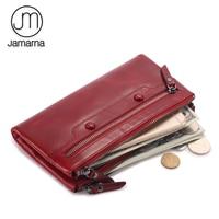 Jamarna Women Wallets Wallet Female Leather Natural Double Zipper Wallet Women Red Coin Purse Card Holder