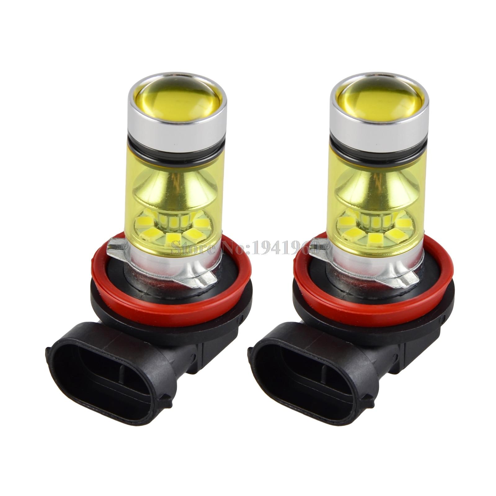 Nicecnc H8 H9 <font><b>H11</b></font> 100 Вт 4300 К желтый светодиод автомобилей туман лампа Габаритные огни вождения проектор Лампы для мотоциклов DRL 12 в-28 В 24 В 1500lm