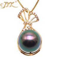 JYX 18K Gold 11mm Peacock Green Tahiti Pendant Necklace with Diamonds 18 Selected South Sea Cultured Pearl AAA Jewelry Gold