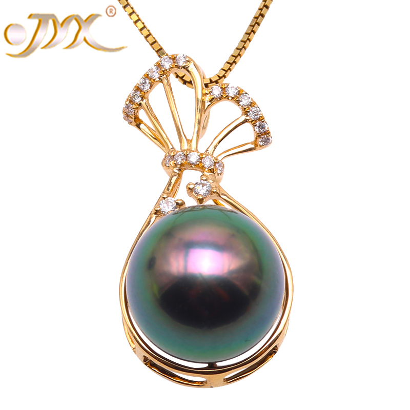 JYX 18K Gold 11mm Peacock Green Tahiti Pendant Necklace with Diamonds 18