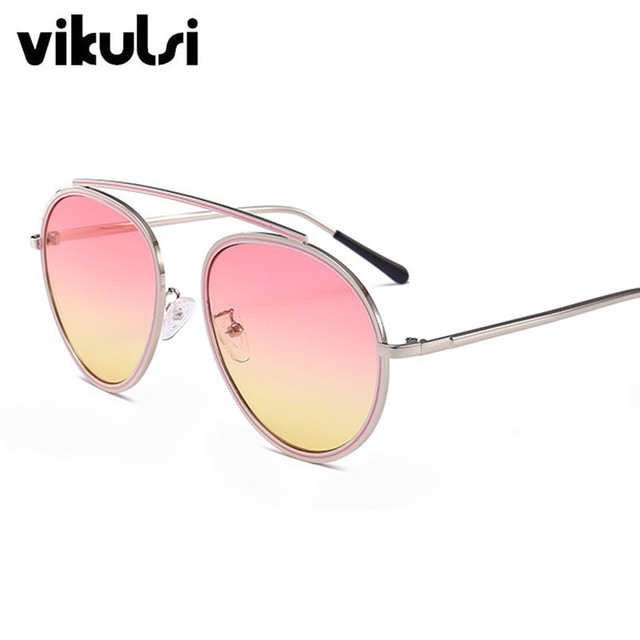 aed84732a8 2017 Rose Gold Round Aviator Sunglasses Women Gradient Gold Clear Sunglasses  Ladies Pink Yellow Eyewear Occhiali