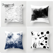 Fuwatacchi Chinese Style Ink Painting Cushion Cover Gradient Mountain Cactus Plant Drop Pillow Home Decoration Accessories