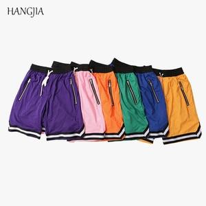 Streetwear Vintage Mesh Baggy Shorts Men's Justin Bieber Side Zipper Elastic Waist Loose Knee Length Sweatpants Ten Colors(China)