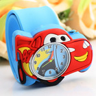 Children watch manufacturers direct Q version of a cartoon car made of silica gel tape patter, kids favorite