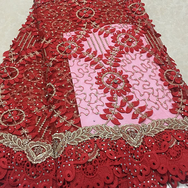 Red Color African Lace Fabric 2018 Embroidered Nigerian Laces Fabric Top Quality French Tulle Lace Fabric For Women 5YardsZQ26-3