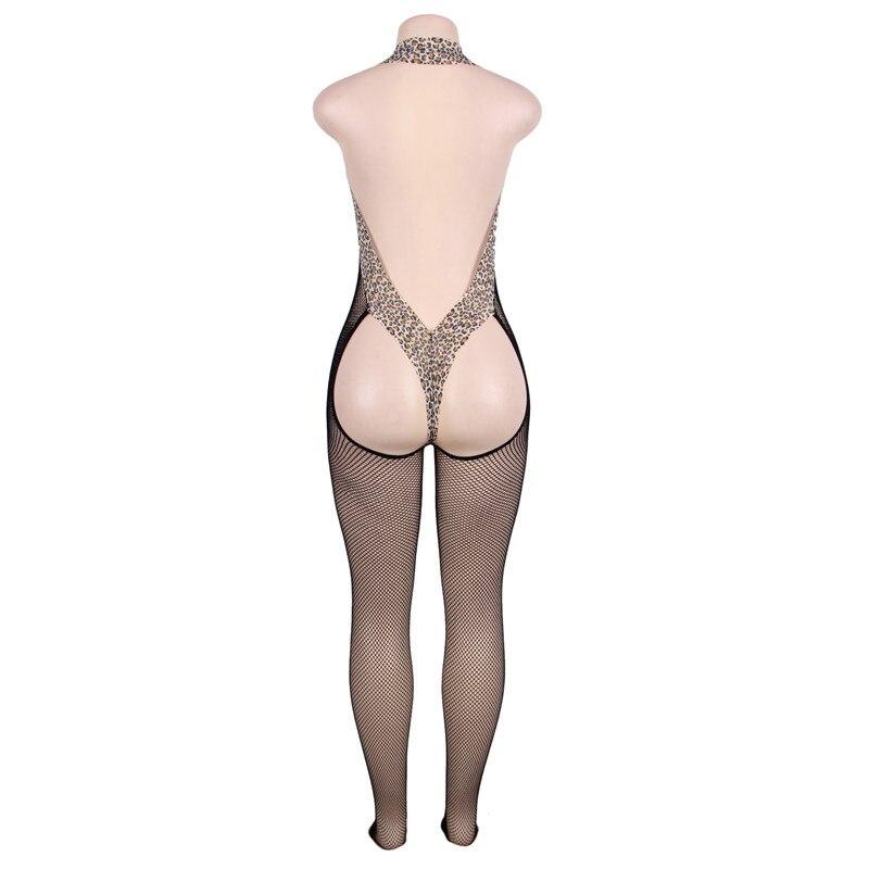 Sexy Sheer Seamless Fishnet Mesh Butt Open Leopard Edge Body Stockings Thong Back Backless Bodysuit Bodystocking Lingerie