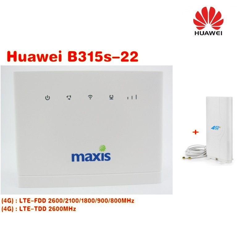 Set of Brand New Original Unlock 150Mpbs HUAWEI B315S-22 LTE CPE 4G Router +49dbi 4g SMA antenna