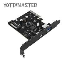 YOTTAMASTER USB3.1 (GEN 2) Type-C et Type-Un PCI-E Carte D'extension Adaptateur avec BROCHES Connecteur D'alimentation pour Windows 8 PC (CA31-AC)