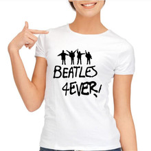 The Beatles Summer 2016 T Shirt Women Casual Fashion Punk Rock White Top Tee Letter Print Plus Size Clothing