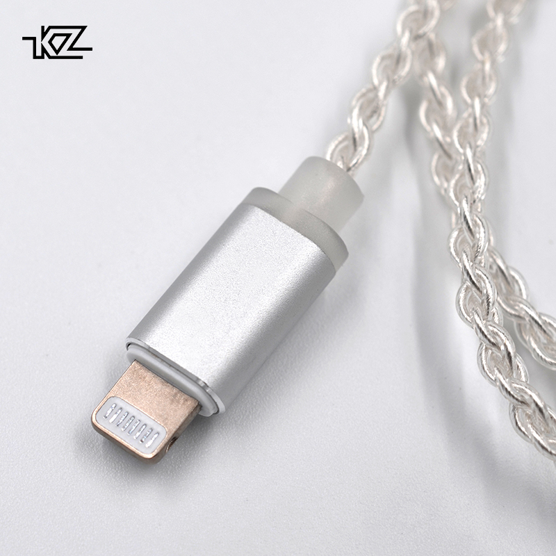 AK KZ Beleuchtung Dock Kabel 2Pin/MMCX Stecker Überzog Silber Kabel Verwenden Für SE846 KZ ZS4/ZS6/ ZSA/ED16 ZSN/ZST/ES4/ZS10/AS10/BA10