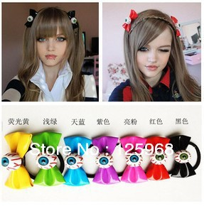 Free Shipping!20pcs/lot Halloween Evil Eye Bowknot Hair Accessary,women Hair Bands Elastic Ties Ponytail Holder