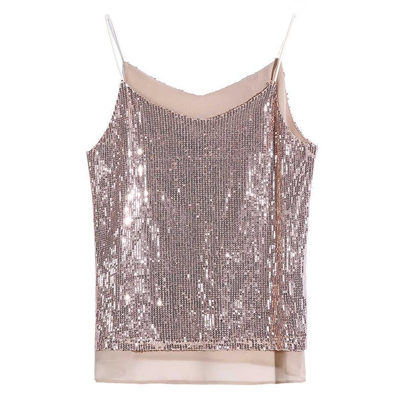 Koreaanse Mode Sequin Vrouwen Camis Streetwear Sexy Tops Chiffon Mouwloze Roze Vrouwen Tank Tops Plus Size XXL Wit Shirt