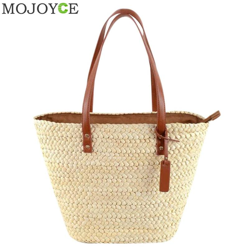 Zipper Womens Bag Beach Woven Bags For Summer Womens Designer Shoulder Bag Ladies Knitting Women Straw Bag Shopping Handbags