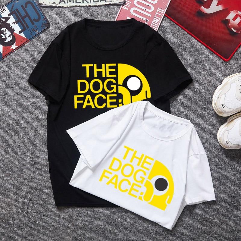 2017 verão nova animação T-Shirt Tempo de Aventura Finn e Jake camiseta cara A cara do cão engraçado Dos Desenhos Animados 3d imprimir Unisex camisa de t dos homens