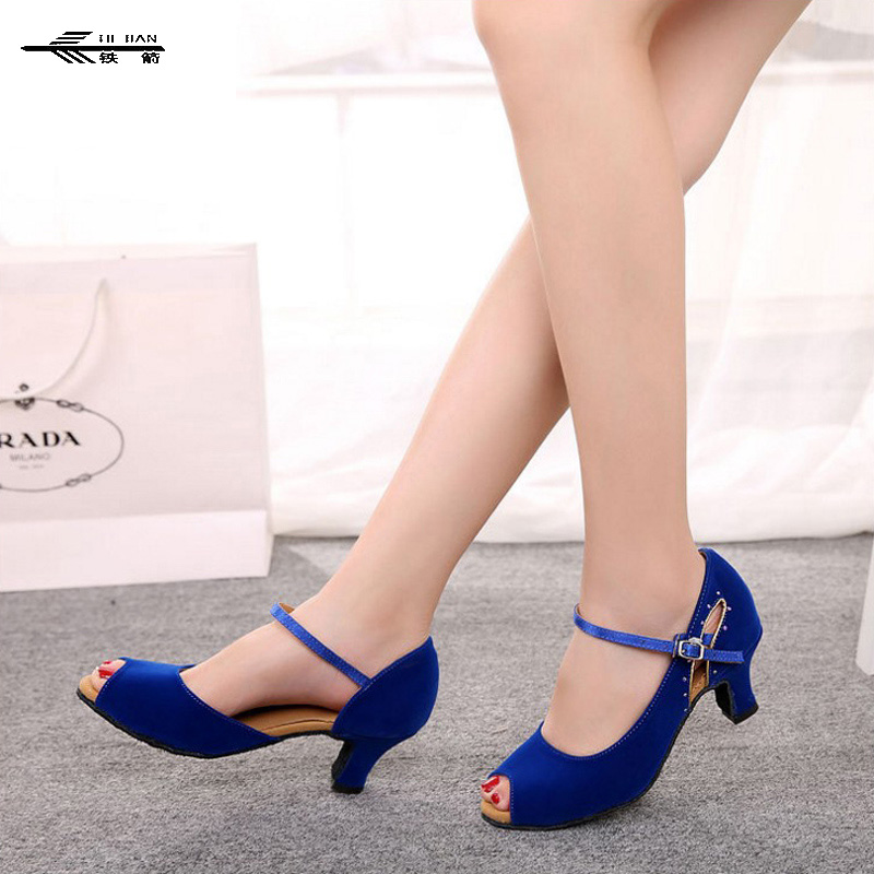 Dance Shoes Black Mid Or High Heels Buckle Satin Ladies Womens Salsa Ballroom Tango Shoes Peep Toe Latin Dance Shoes 5.5cm